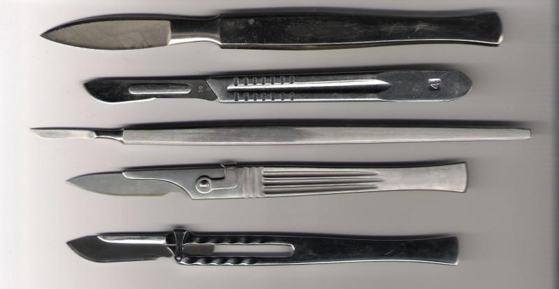 An assortment of modern surgical scalpels