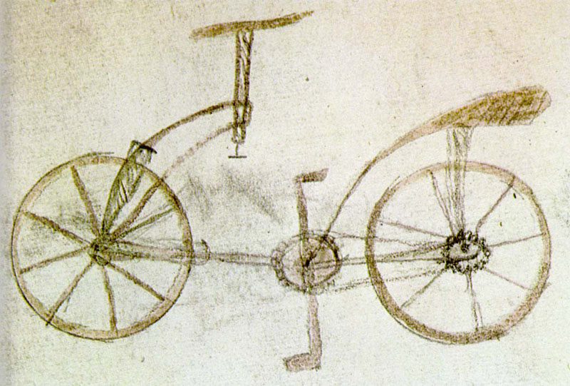 Early Bicycle concept from 1534 attributed to Gian Giacomo Caprotti, apprentice to the famous Leonardo da Vinci.