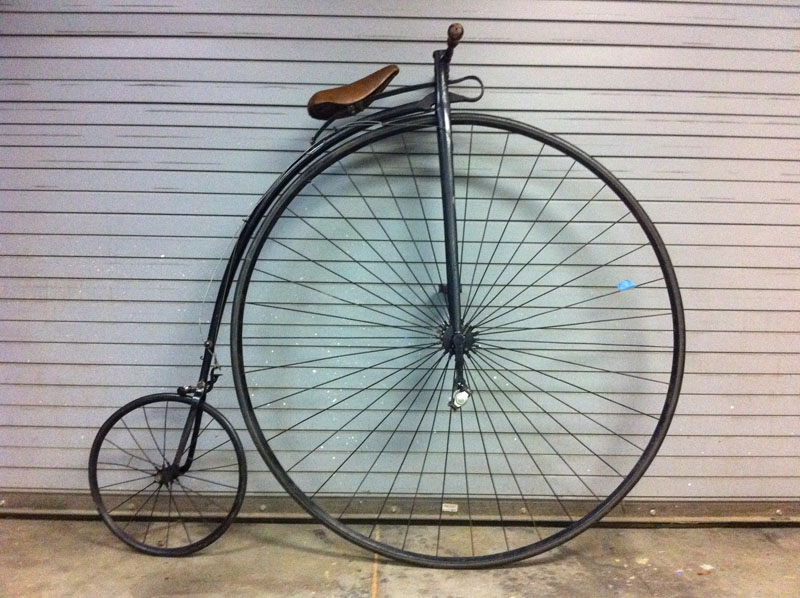 The Penny-Farthing bicycle, also called the 'Velocipede'.