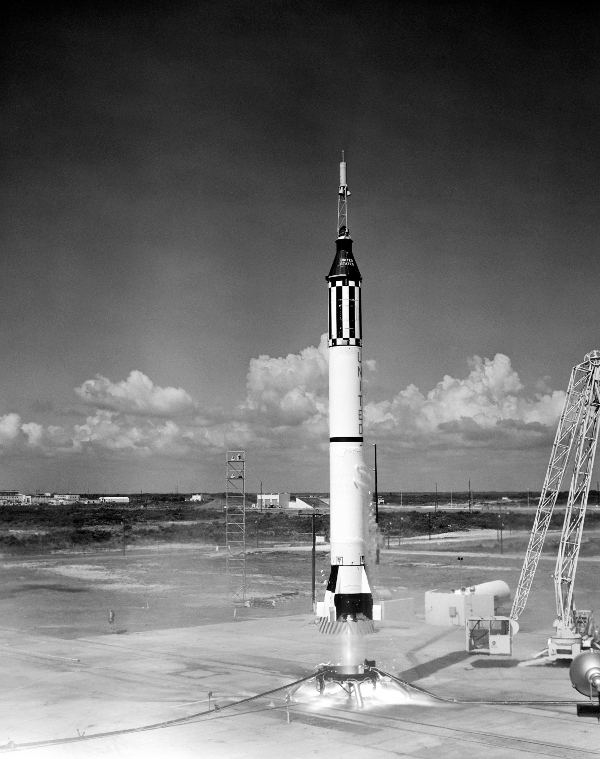 Astronaught Alan Shepard lifts off in the Freedom 7 Mercury Mission