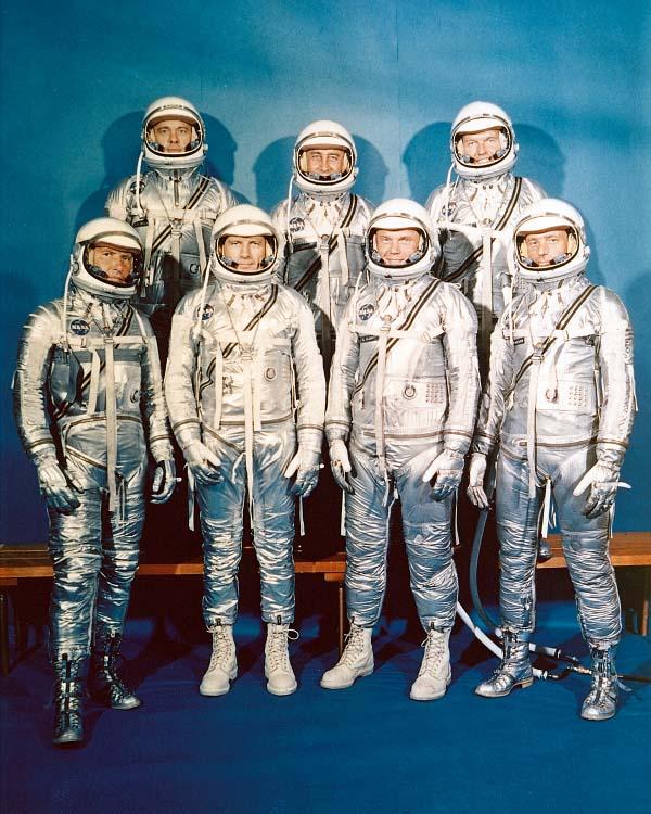 The seven Mercury astronauts were (from left) Wally Schirra, Alan Shepard, Deke Slayton, Gus Grissom, John Glenn, Gordon Cooper and Scott Carpenter.