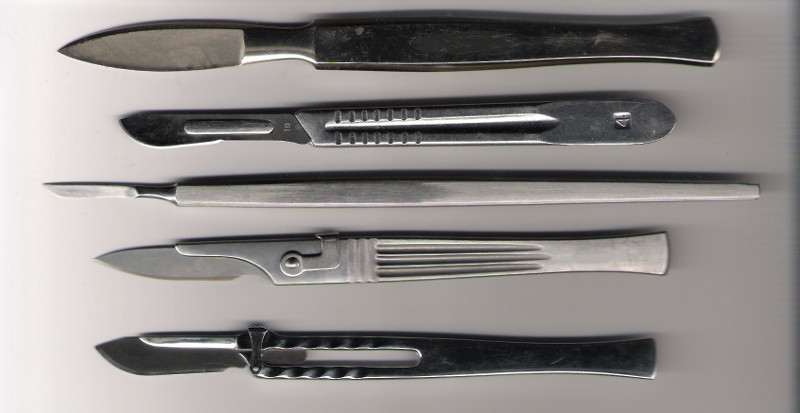 An assortment of modern surgical scalpels